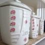 薔薇モチーフ陶器キャニスター3個セット