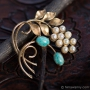 Winard-K12金-真珠の蕾ターコイズ色の実ブローチ