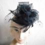 ワッシャーオーガンジー×ベルベットドットチュール×ブラックフェザーのヘッドドレス[HD-457]