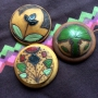 木製花柄ボタン3種