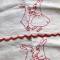 ウサギの赤糸刺繍プティ・カーテン